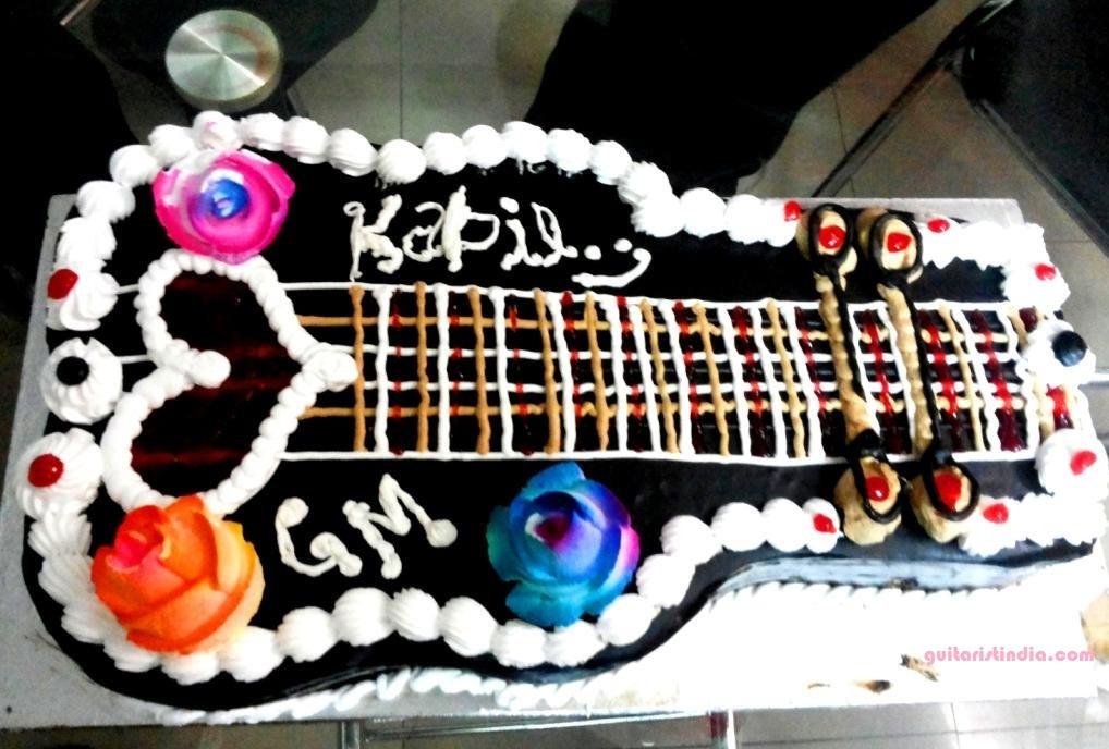 Beautiful Guitar Cake Gift On My Birthday Guitarist India