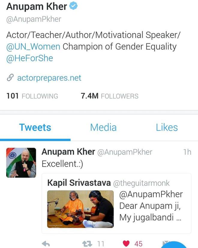 Anupam kher Kapil Srivastava Guitar Tweets